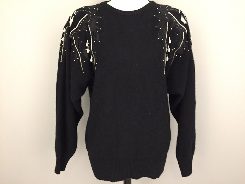 1f1cff9c15 Black Dressy Sweater Beaded Party Sweater Lambswool Sweater