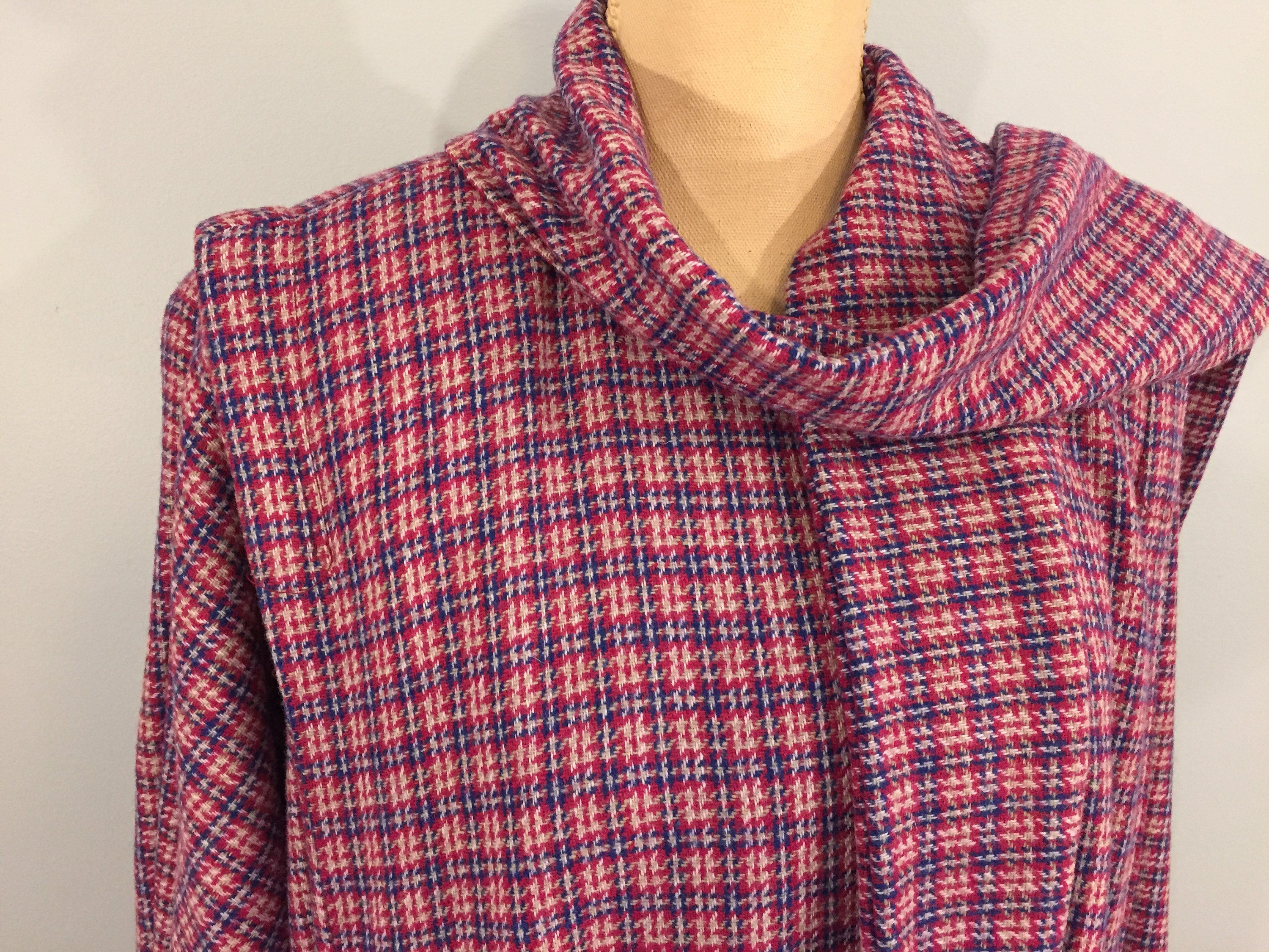 Vintage Scarf Styles -1920s to 1960s 1970S Swing Coat Womens Cape Wool Coats Oversized Winter Pink Blue Plaid Medium Large 70S Vintage Clothing $0.00 AT vintagedancer.com