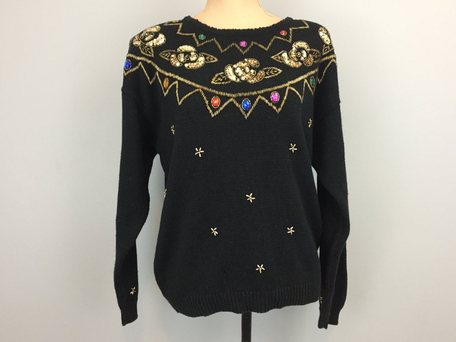 51ef4aee7da Black Sequin Sweater Beaded Party Tops Dressy Black Sweater