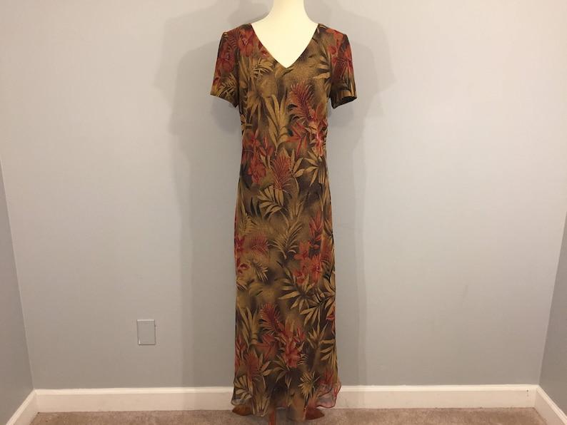 9842c33fd374 Hawaiian Luau Dress Maxi Tropical Chiffon Dress Animal Print | Etsy
