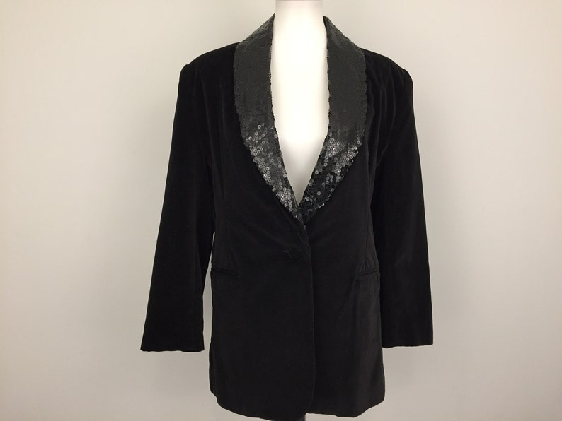 afb8a6a89c Black Velvet Jacket Sequins Dressy Black Jacket Cocktail Jacket Black  Blazer Evening Jacket Formal Wear Medium Vintage Womens Clothing 1990s