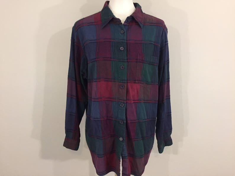 fe33a701384 Womens Plaid Shirt Long Sleeve Button Up Plus Size 1X Casual | Etsy