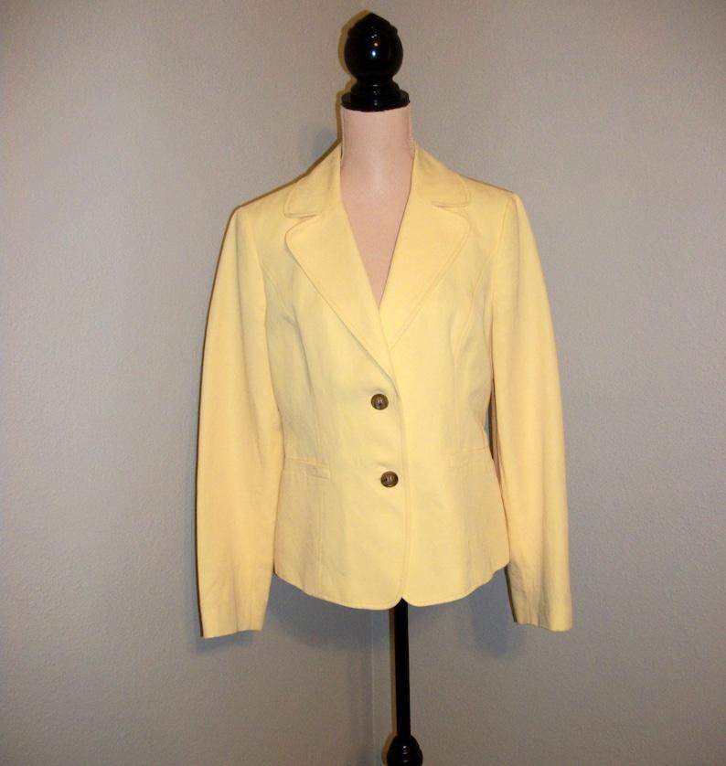 8c22fded53574 Yellow Linen Jacket Blazer Yellow Suit Jacket Womens Jackets Womens Blazers  Cotton Talbots Size 10 Medium Womens Clothing Vintage Clothing