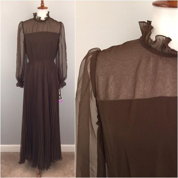 1970s Edith Flagg Brown Chiffon Dress High Neck Ru