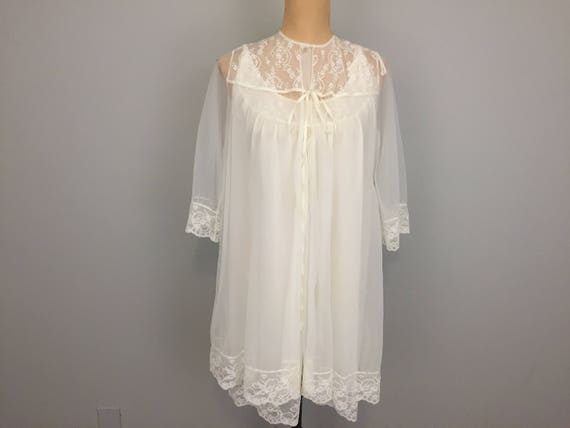 bdbb4ecc5678 60s White Peignoir Set Negligee Chiffon Gown Short Gown Sheer   Etsy