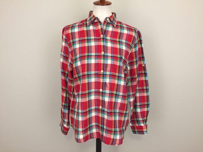 747f5c11ba Linen Shirt Long Sleeve Womens Long Sleeve Red Green Plaid | Etsy