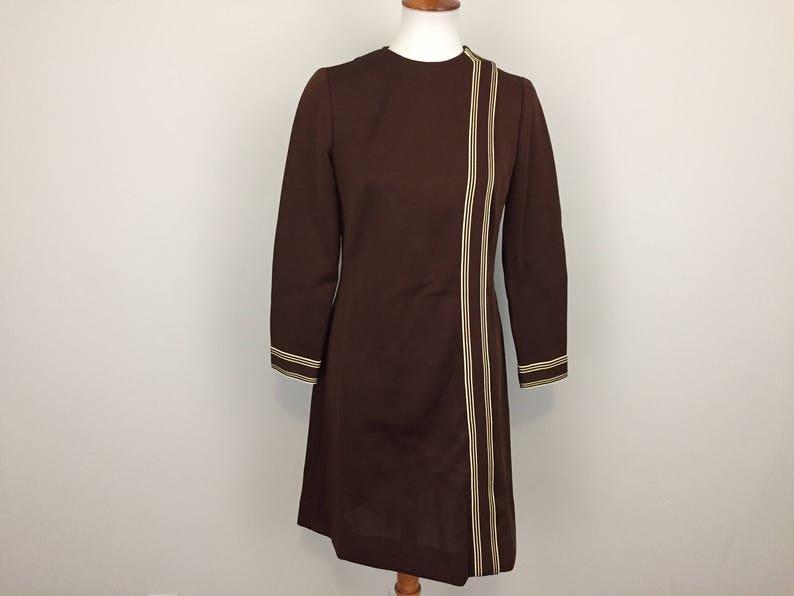 b269842996e 60s Mod Dress 70s Womens Dresses Medium Vintage Knit Brown   Etsy