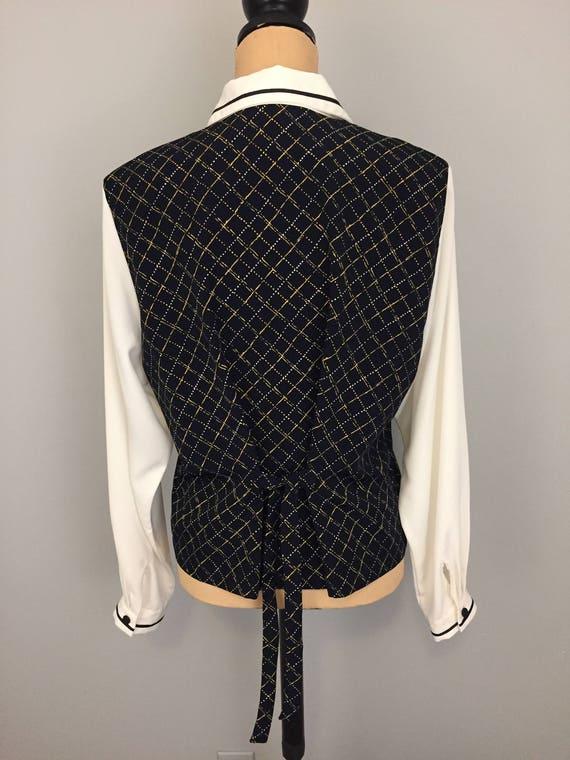 8632c5d6dfb Blouse with Vest Large Long Sleeve Size 14 Cream Navy Blue 90s