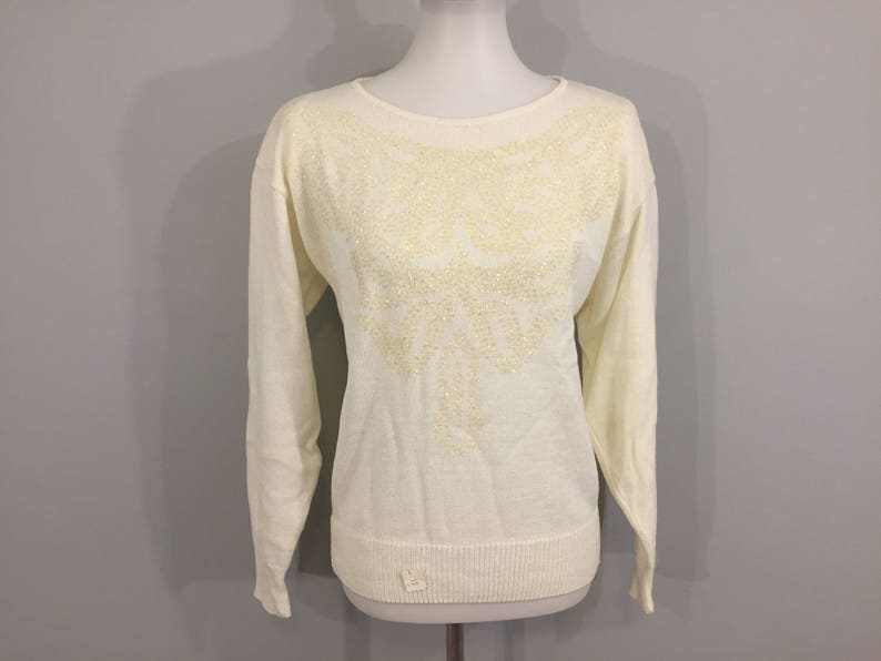 257a2c4e7df Cream Sweater Top Dressy Beaded Sweater 80s Pullover Sweater