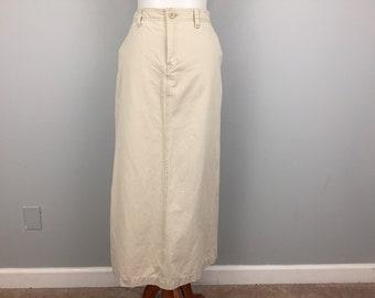 Tan Beige Skirt Khaki Pencil Skirt Straight Long Skirt Minimalist Clothing Casual Skirt Cotton Size 10 Skirt Medium Womens Clothing