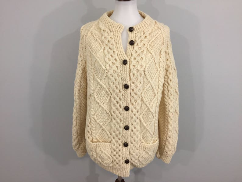 10911c60005d15 Thick Wool Cardigan Sweater Cream Cable Knit Chunky Hand Knit | Etsy