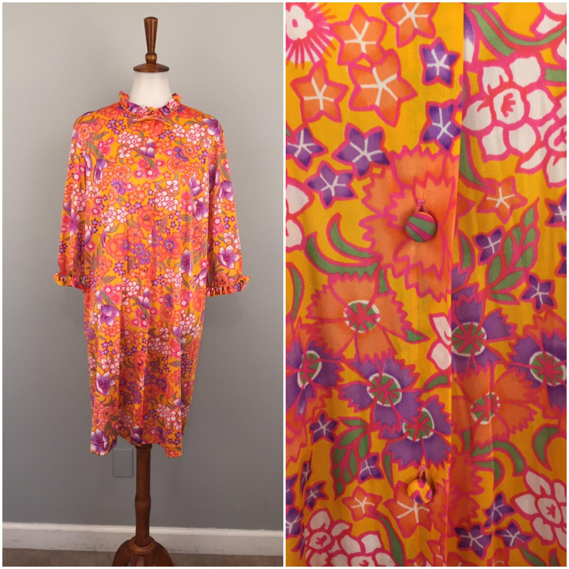 80s Dresses | Casual to Party Dresses Vintage Kaftan Flower Power Hippie Boho Bohemian Colorful Robe Orange Button Front Caftan Women Loungewear 1970S 1980S 70S 80S $0.00 AT vintagedancer.com