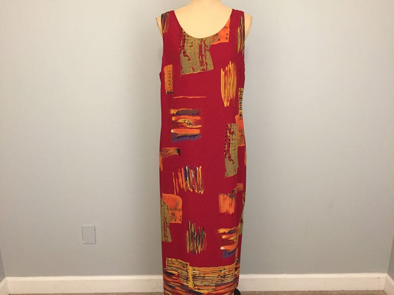 b39fd15d269 Plus Size 16 Dress Tunic Shift Dress Abstract Artsy Print Maxi