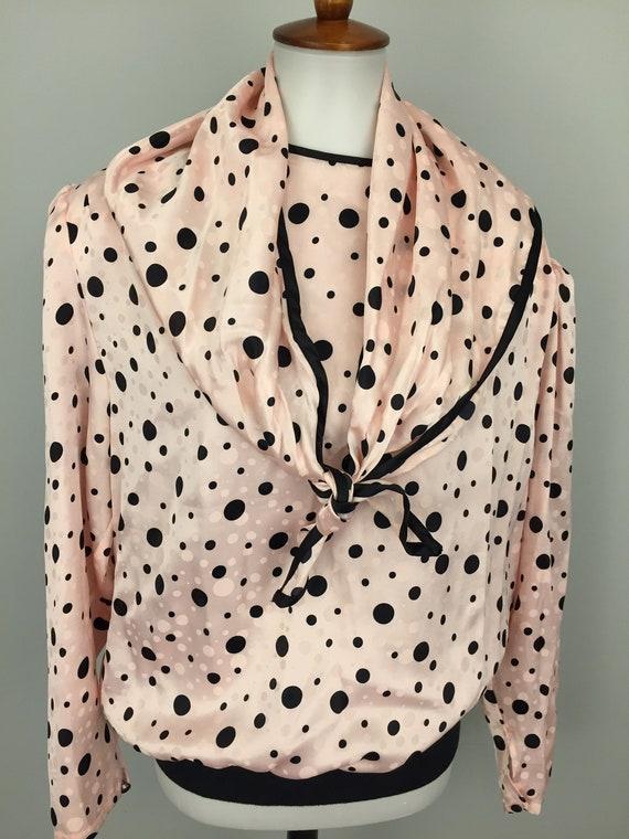 4129109412e Pink Black Polka Dot Blouse Vintage Plus Size 1X Blouson Top