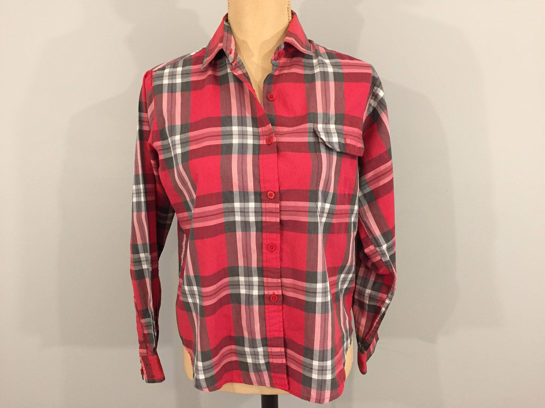 b76f0761d Red Plaid Shirt 80s Womens Medium Large Plaid Top Long Sleeve | Etsy