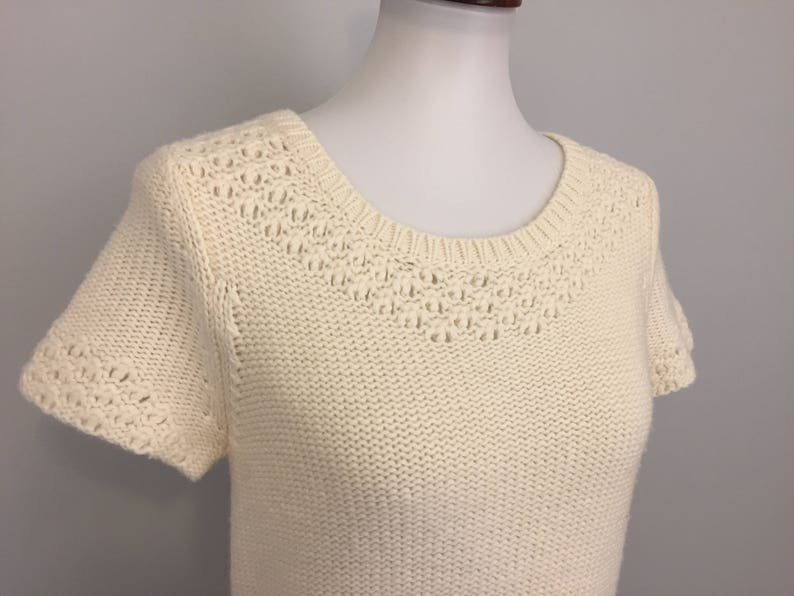 Minimalist Cream Sweater Short Sleeve Sweater Top Wool Blend Womens Pullover Womens Knit Tops Small Medium Womens Clothing American Eagle
