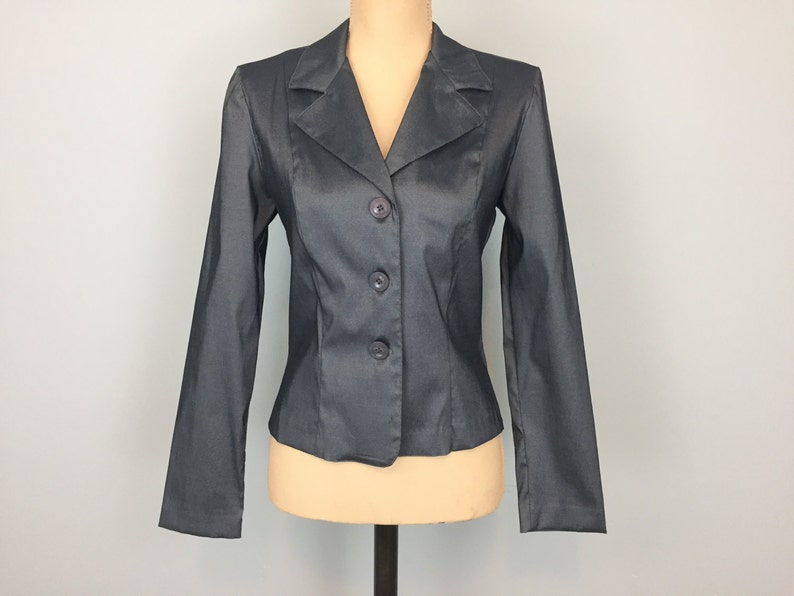 ceaa3a1f3d Dark Gray Fitted Jacket 80s Cocktail Jacket XS Womens Jackets Small Womens  Blazers Dressy Vintage Clothing 1980s Womens Clothing Lightweight