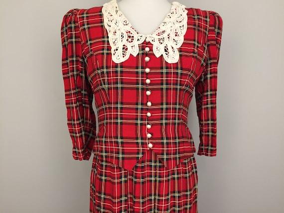 Christmas Dresses Womens.Scottish Plaid Dress Red Plaid Christmas Dress Holiday Clothing Lace Collar Medium Size 8 Dresses For Womens Vintage Clothing Women Rayon
