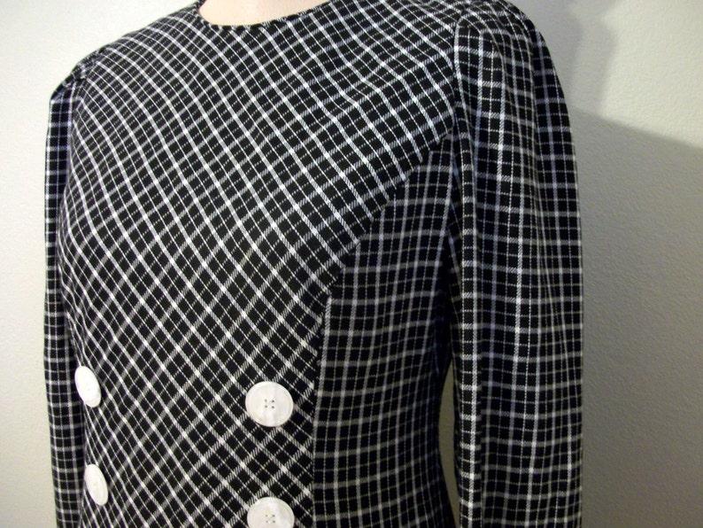 feb0ca7d6cc45 Black Plaid Dress Long Sleeve Drop Waist Black White Plaid