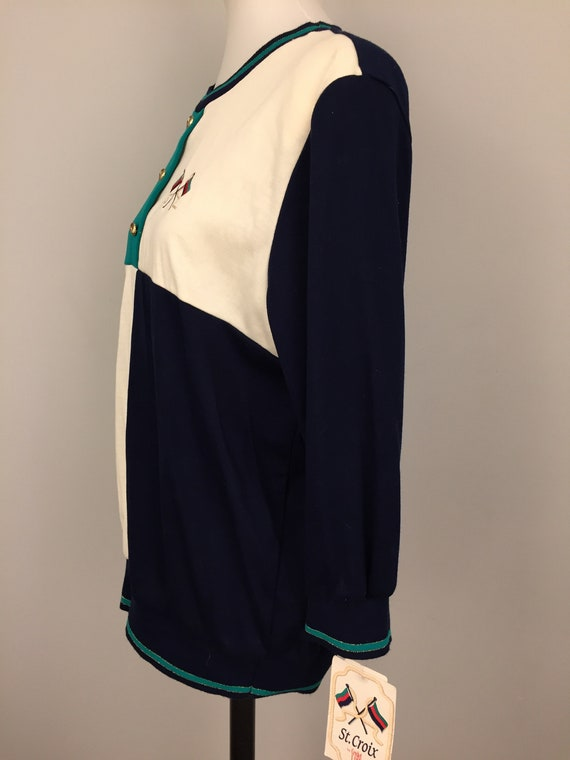 90s Long Sleeve Top Preppy Nautical NWTS Clothing New Vintage Green Navy Blue White Color Block 1990s Plus Size Vintage Size 18 Women
