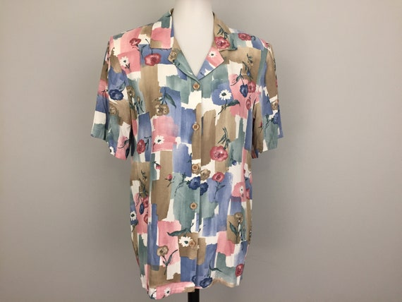 fe43d749281 Abstract Blouse Short Sleeve Floral Womens Shirts Boxy Button