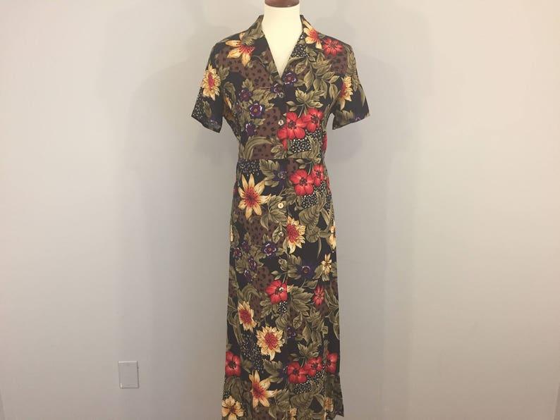 95e81f399d86 Hawaiian Dress Luau Maxi Tropical Print Dress Short Sleeve | Etsy