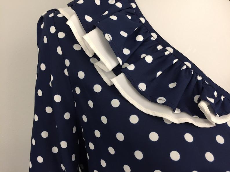 70s Blouse Red White Blue Polka Dot Stripe Long Sleeve Suit Blouse Cream Retro Blouse Medium 1970s Vintage Clothing Women Work Blouse