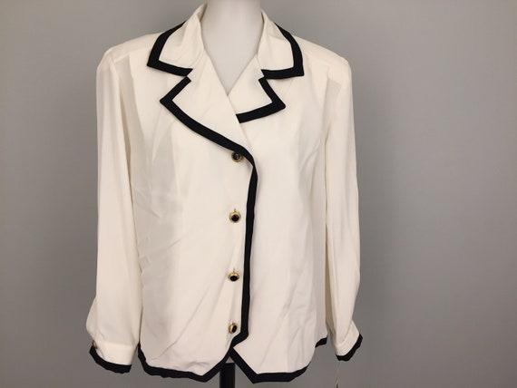 e7b3722c4fba4 Dressy Blouse Long Sleeve Cream Black & White Career Clothing | Etsy