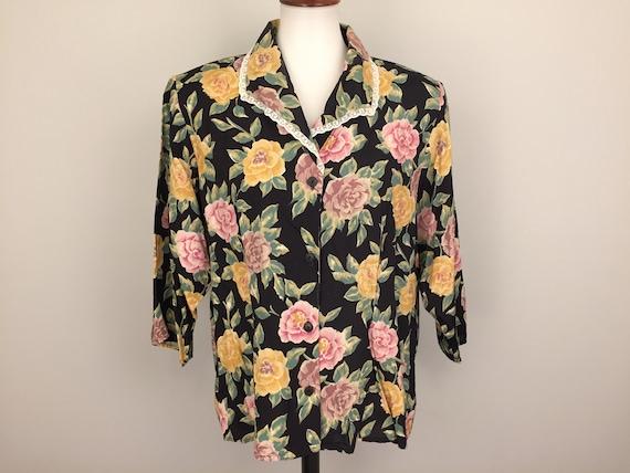 a78b5e9b9f5 Romantic Floral Blouse Vintage 80s Romantic Clothing Womens