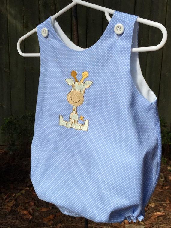 b62dd27f129 Baby boy romper bubble suit sun suit. Embroidered giraffe.