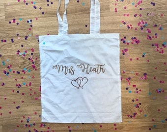 Personalised Bride Mrs Tote Bag // Wedding Bride Squad Bridesmaid Bride to be Maid of Honour Hen Do Party Weekend Black White