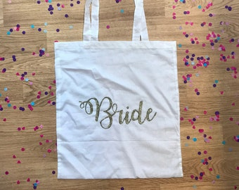 Personalised Bride Tote Bag // Wedding Bride Squad Bridesmaid Bride to be Maid of Honour Hen Do Party Weekend Black White