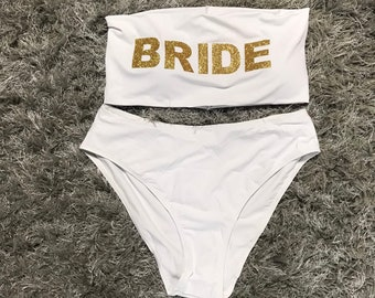 7502935ae88 Personalised Custom Glitter White Bride Black Bridesmaid Swimsuit Bikini Bridal  One Piece Swimwear Hen Do Party Honeymoon Bandeau High Waist