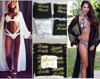 Personalised Frill Long Sleeve Hen Do Cover Up Kaftan/Kimono Bride To Be, Bridal, Bridesmaid, Black, White