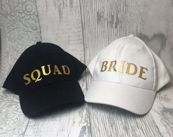 Personalised Hen Do Hats // Black White Baseball Cap Bride Bridesmaid Squad Tribe