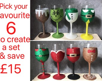 Set Of 6 Personalised Christmas Glitter Wine Glasses Perfect Gift Present Glass Santa Claus Mr Mrs Claus Father Elf Snowman Pudding