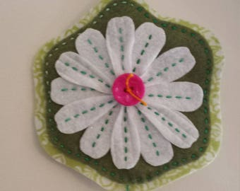Spring Wall Hanging, Flowers and Bee - handmade