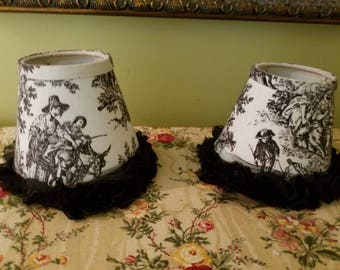 Pair of Black & White Toile French Country Mini Lampshades