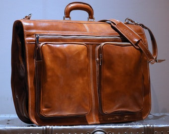 Leather Garment Bag, Leather Travel Bag, Leather Suit Bag, Weekender Bag, Overnight Bag (33Olive)