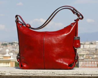 ca7448d9f04a Red Leather Bag - Convertible Shoulder to Crossbody Women s Purse Handbag  in Full Grain Italian Calfskin Leather (1206RED)