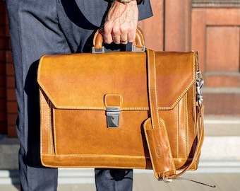 9c34a4fbfa Venezia Brown Leather Briefcase