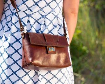 Brown Leather Crossbody Purse Bag Women's Handbag Shoulder Bag in Full Grain Calfskin Leather (1856BROWN)