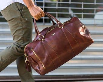 Leather Travel Bag, Leather Duffel Bag, Weekender Bag, Duffel Bag, Leather Overnight Bag, Cabin Travel Bag, Brown Gym Bag (141217BROWN)