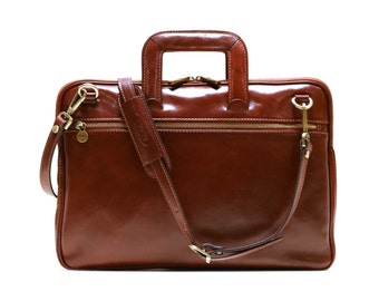 a6dfe78eda Floto Firenze Slim Briefcase Messenger Bag in Brown Full Grain Calfskin  Leather (141324BROWN)