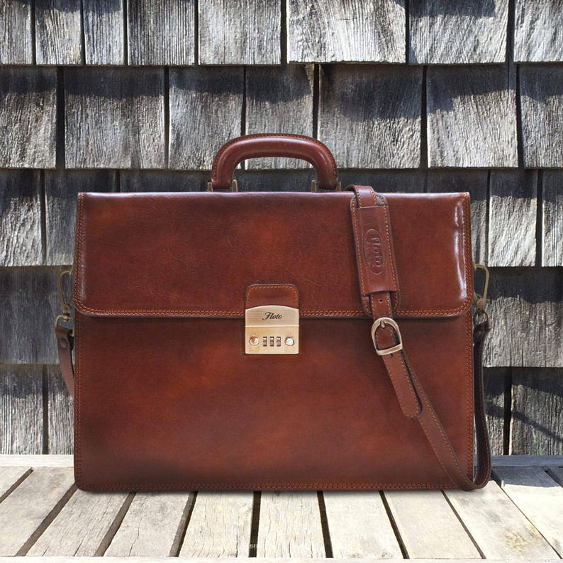 26b12372a Brown Leather Briefcase Attache Laptop Bag Case with   Etsy