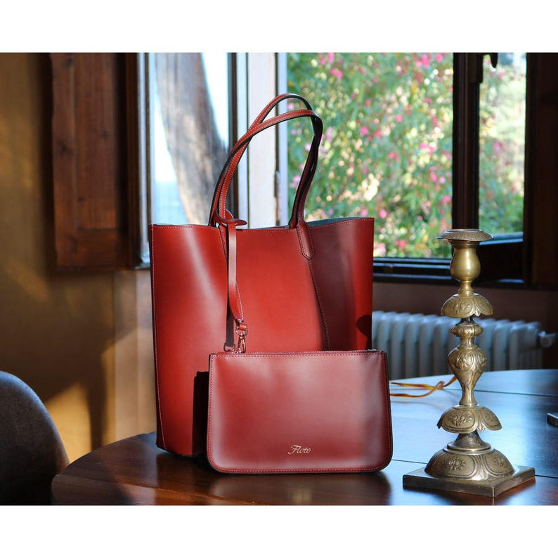 da69d3467066 Leather Bag, Leather Tote Bag, Leather Shoulder Bag, Handmade Leather Bag,  Woman Leather Bag, Floto Ischia (1602RED)