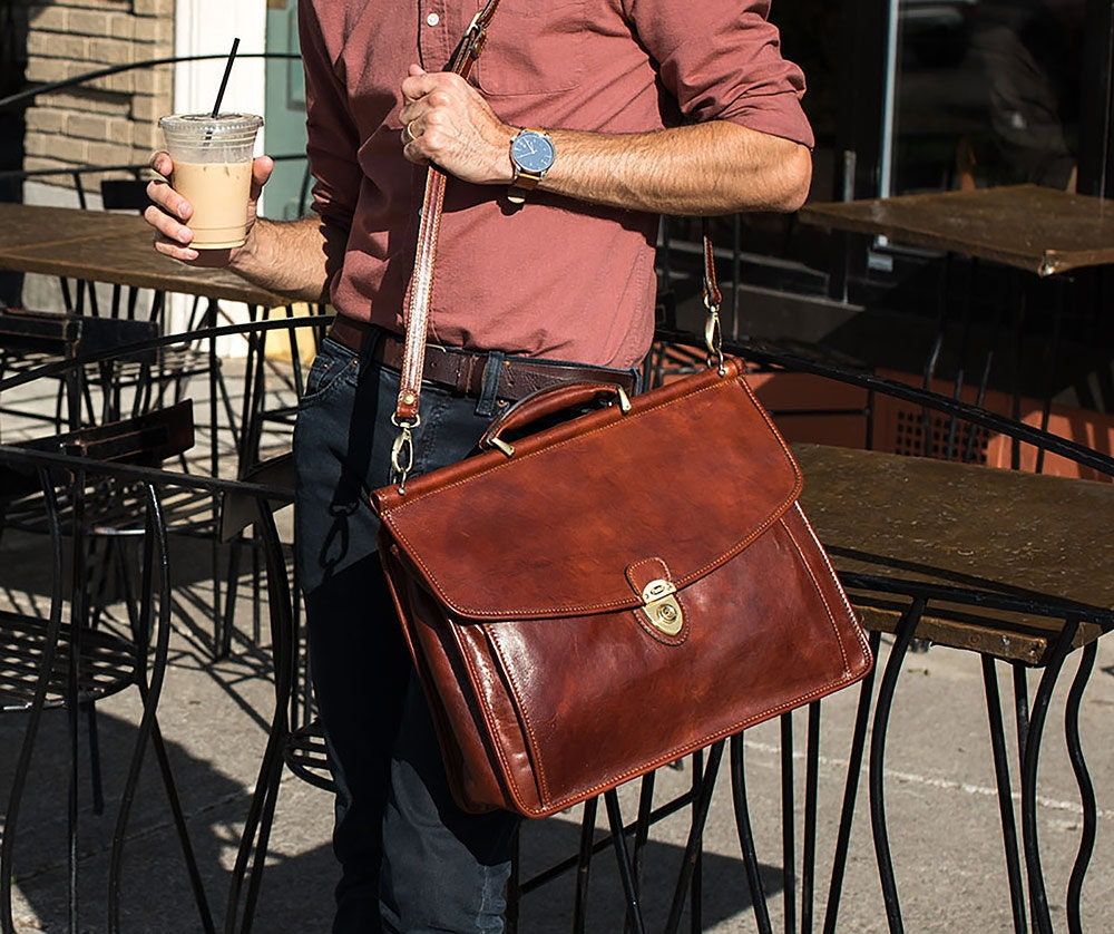 ee0e6191d8f7 Leather Briefcase, Brown Leather Briefcase, Dowell Rod Briefcase, Laptop  Bag, Leather bag, Mens Briefcase, Floto Firenze (142181 BROWN)