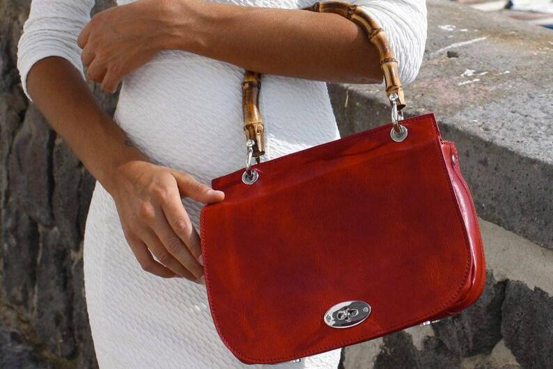 54aceddb0280f Leather Bamboo Handle Bag Saddle Bag Leather Handbag