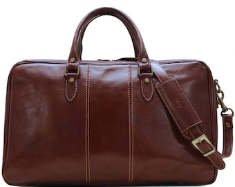 Leather Suitcase Duffel Bag, Travel Bag, Overnight Bag, Weekender Bag, Duffle Bag, Gym Bag, Leather Sports Bag, Venezia Suitcase (8919BROWN)