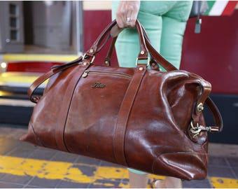 Leather Weekender Bag, Leather Travel Bag, Leather Duffel Bag, Weekend Bag,Gym Bag, Duffle Bag, Overnight Bag (142180BROWN)